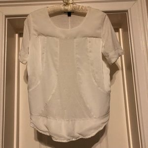 J. Crew White Mixed Media Top